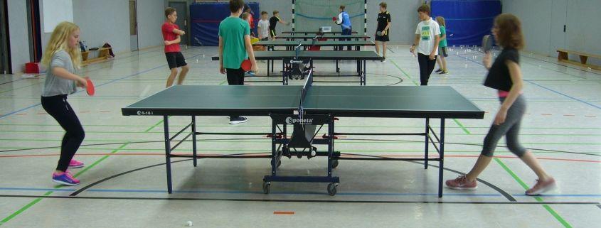 schülerinnen und schüler aus dem internat landschulheim steinmühle spielen tischtennis in der sporthalle in marburg, hessen