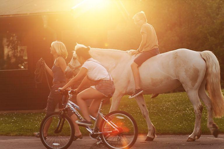 schüler, schülerin und lehrerin aus dem sportinternat landschulheim steinmühle reiten auf dem reitgelände der schule in marburg, hessen